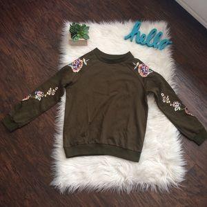 Zara Brown Floral Accent Crewneck Sweater